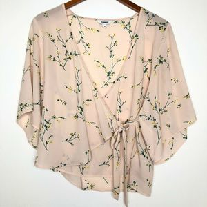 EXPRESS top blouse size small Floral Blush Pink